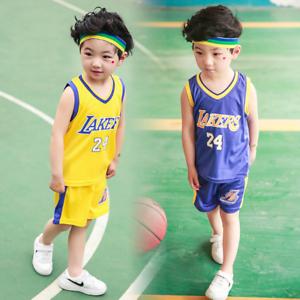 Kids Baby Boys Girls #24 Basketball Jerseys Short Suits Sportswear