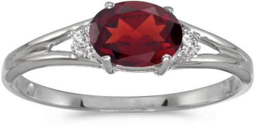 CM-RM1789XW-01 14k White Gold Oval Garnet And Diamond Ring