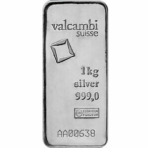 1 Kilo Valcambi Cast Silver Bar 999 Fine New W Assay