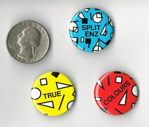 SPLIT-ENZ-True-Colours-1980-LP-Album-PROMO-3-PIN-SET-Button-Badge