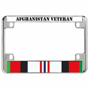 Afghanistan Veteran Military Metal Motorcycle License