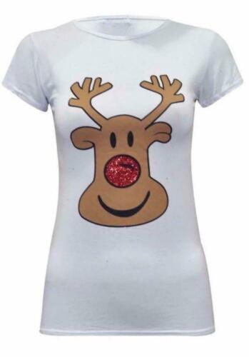 Femmes Femme à mancherons Noël Paillettes Nez Rudolph Noël T-shirt top UK Mad