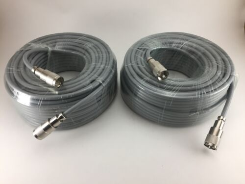 TWO 75FT RG-8x COAX COAXIAL CABLE LOW LOSS w//PL-259 CB HAM RADIO RG8 NEW!