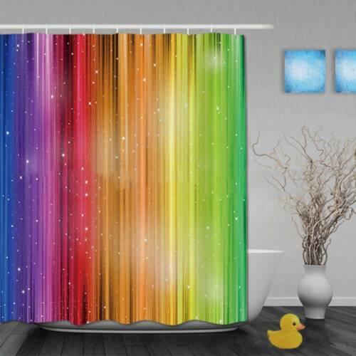1pc 71inch Modern Rainbow Shower Curtain Waterproof Polyester Bathroom Curtain//