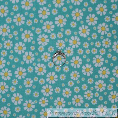 BonEful FABRIC FQ Cotton Quilt Navy Blue White Yellow Daisy Flower Tiny Dot Girl