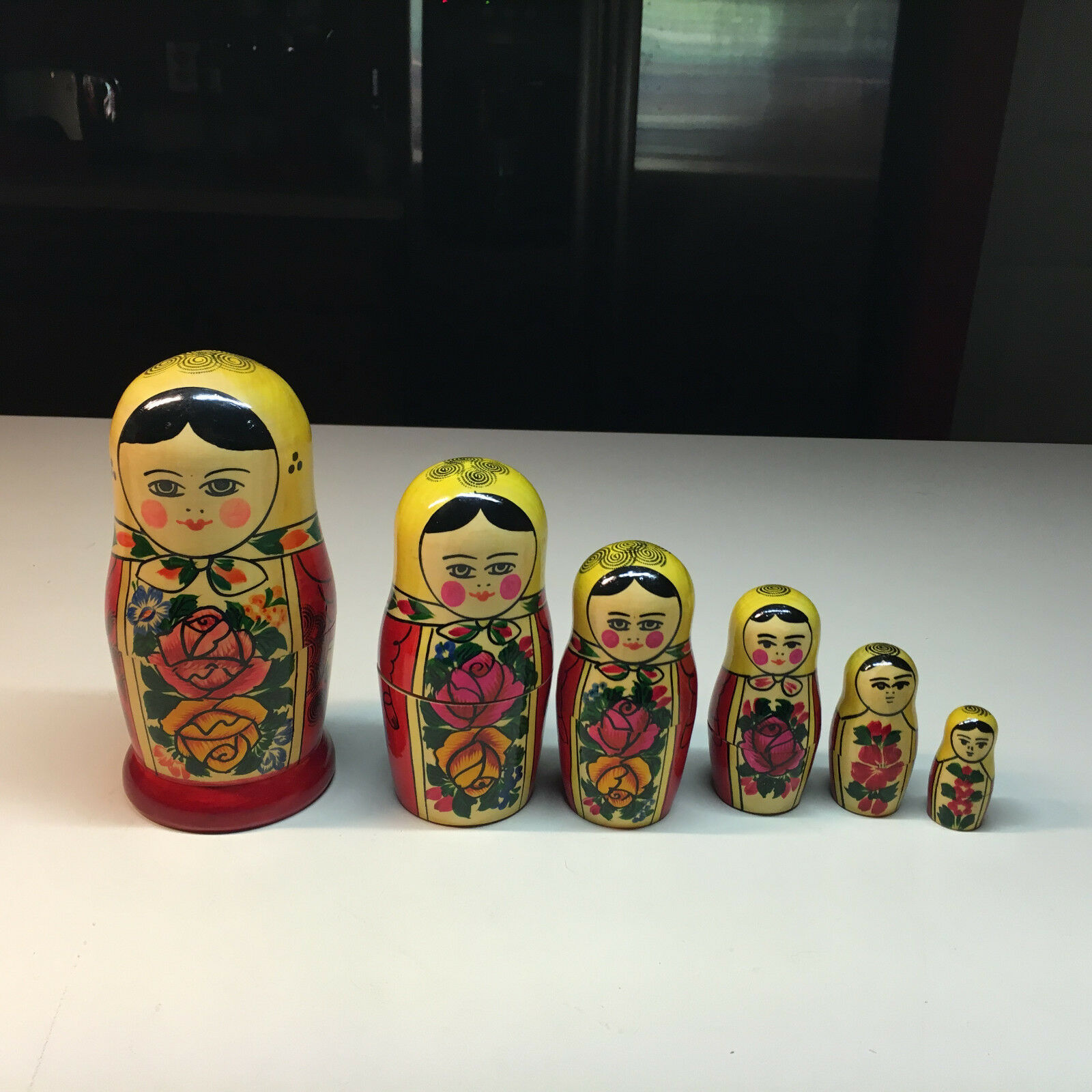 Old Vtg Hand Painted Decorative  6  Six Piece Nesting Doll Lady Bow Tie