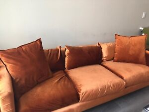 Details About Burnt Orange Velvet Sofa Originally From Urban Outfitters Slightly Used