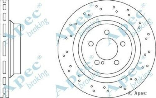 1x OE Quality Replacement Rear Axle Apec Vented Brake Disc 5 Stud 330mm - Single