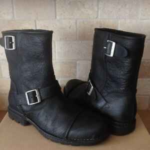 0b54205ae6f Details about UGG ROCKVILLE II BLACK WATERPROOF LEATHER SHEEPSKIN MOTO  BIKER BOOTS SIZE 9 MENS