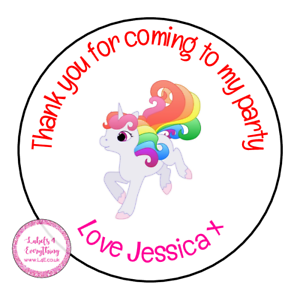 Personalised-Unicorn-Horse-Animals-Birthday-Thank-You-Party-Stickers-Sweet-Cones