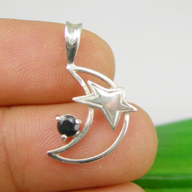 Natural Sapphire Gemstone Moon Star Pendant Genuine 925 Sterling Silver - P6038