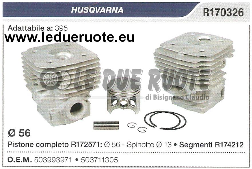 503993971 Kit Zylinder und Kolben Husqvarna 395 Kettensäge Ø 56 Spin 13