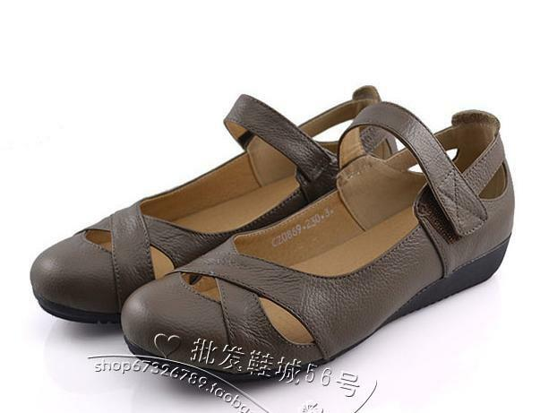Ladies Soft Pu Leather Flats Mary Jane shoes Hollow Out Sandals Comfy Plus Size