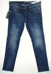 Replay-Anbass-Slim-Fit-w34-l32-RRP-125-Herren-Blau-Super-Stretch-Denim-Jeans