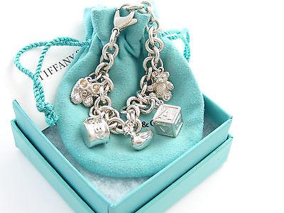 2f634b5f4 Tiffany & Co RARE Silver Baby Duck Shoes Box Bear Cup Charm Bracelet Bangle
