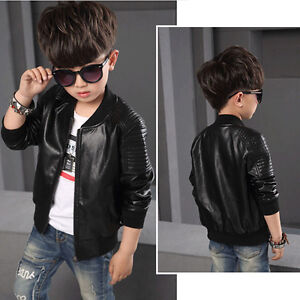 859f4dcb4cb5 Baby Boy Coats Faux Leather Jackets Kids Outerwear Jacket Brown ...
