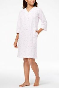 fdbf8247e3 Image is loading Miss-Elaine-French-Terry-Knit-Short-Robe-Pink-