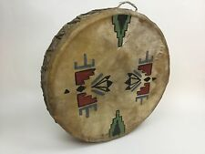 1930's PAINTED NATIVE AMERICAN INDIAN CEREMONIAL DRUM  BLACKFOOT RARE Dble Sided