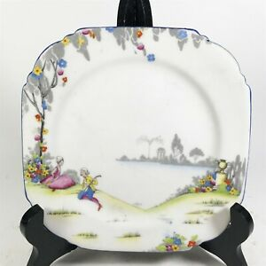 Vintage-Paragon-Fine-Bone-China-16cm-Plate-1800-Century-French-Scene-lt-22-3