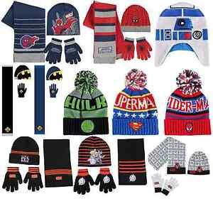 c64478ef03d1d5 Boys Girls Kids Official Superhero & Star Wars Hat Or Hat Gloves ...
