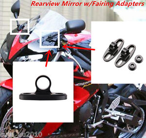 H HILABEE 1 Pair Universal Motorcycle CNC Rearview Mirror Fairing Adapter Holder Mount as described Black
