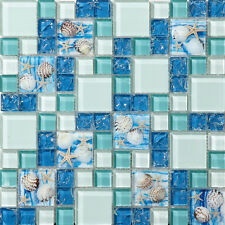 Azure Glass Mosaic Art Tile TSTGT370 Backsplash Bath Tub Ocean Blue Beach Style