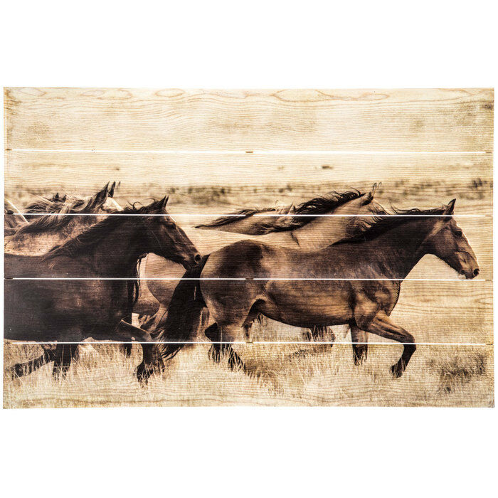 Wild Horses Wood Pallet Plank Rustic Wall Decor Cabin Lodge Country Wall Hanging