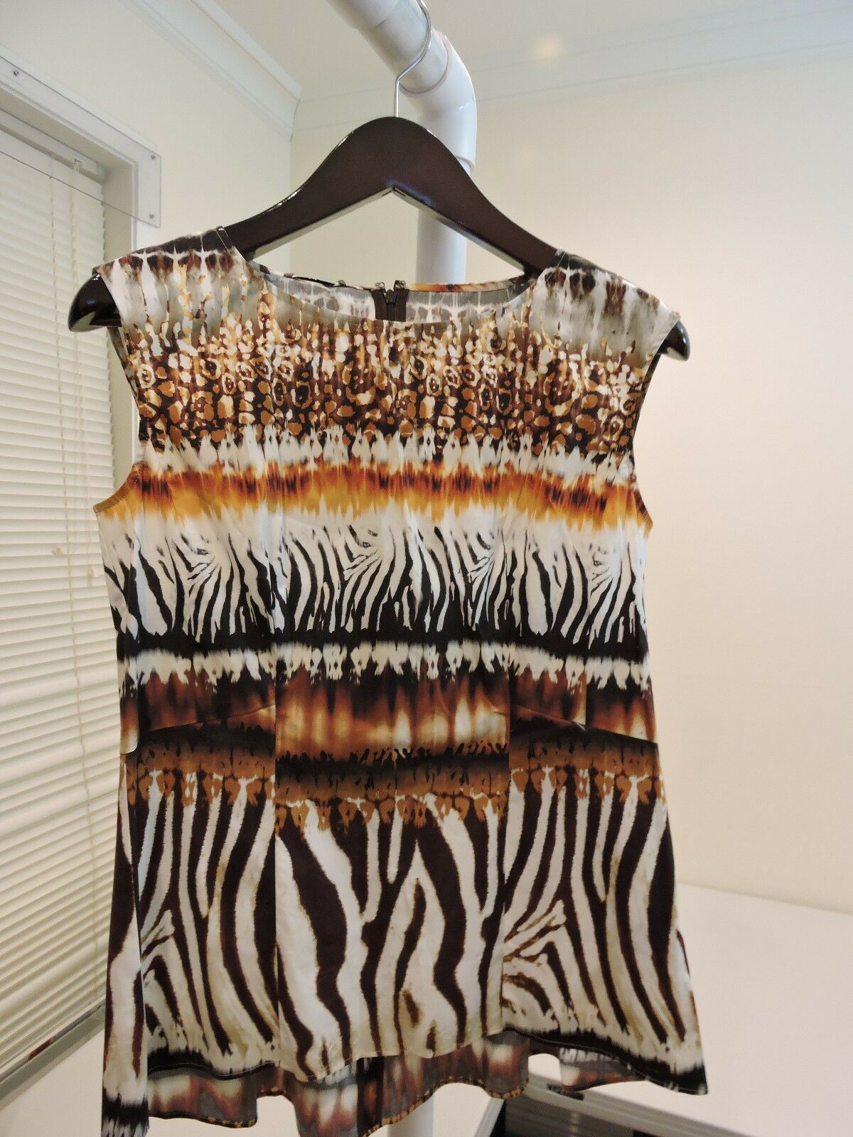 Lafayette 148 New York Cotton Blend Leopard Print Sleeveless Blouse Größe 6