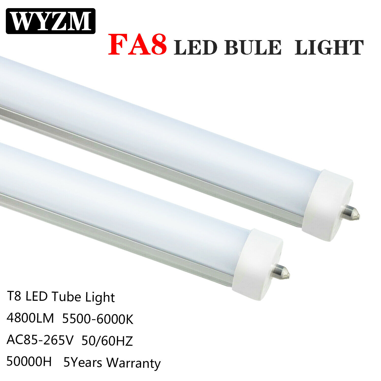 8ft LED Tube,40W Single Pin T12,8' F96T12 CW HO LED Fluorescent Tube Replacement