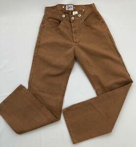 Brents-Dead-Stock-Repo-1930-039-s-Buckle-Back-Brown-Duck-Canvass-Trouser-Size-28x31