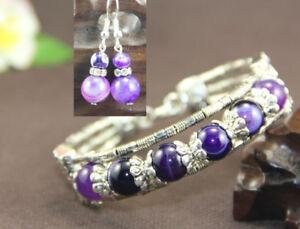 Ladies-Bangle-Purple-Agate-Tibetan-Silver-Bracelet-Earrings-Christmas-Gift