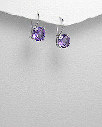 2.7g Solid Sterling Silver 8mm Round Natural Purple Amethyst Dangle Earrings
