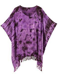 Beautybatik Women Boho Hippie Tie Dye Plus Size Tunic Blouse Kaftan Top
