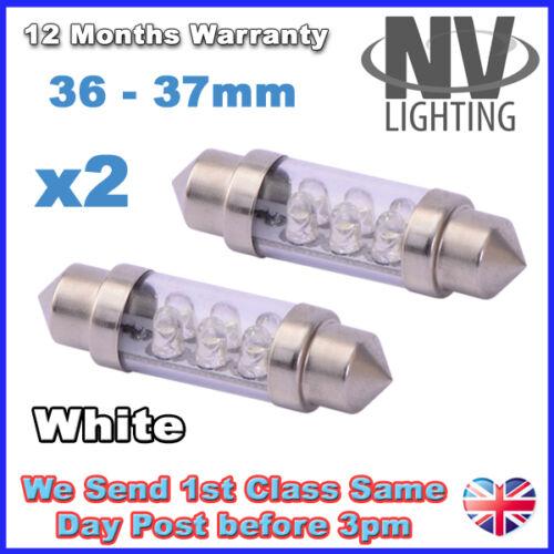 2x 36mm 37mm NUMBER PLATE INTERIOR LIGHT FESTOON BULB 6 LED XENON WHITE 239 272