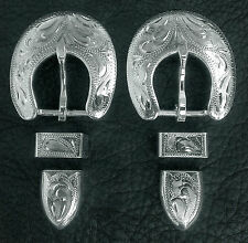 """2 - 5/8"""" Hand Engraved Silver Plated Buckle Sets - Spur Straps Headstall      #7"""