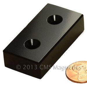 "Neodymium Magnet N42 2x1x1/2"" w/2 Countersunk holes(#8 Screws)Epoxy 2 PC N Pole"