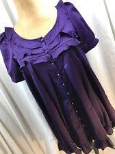 BB Dakota Size S Small Purple Overlay Dress Banded Baby Doll Ruffles
