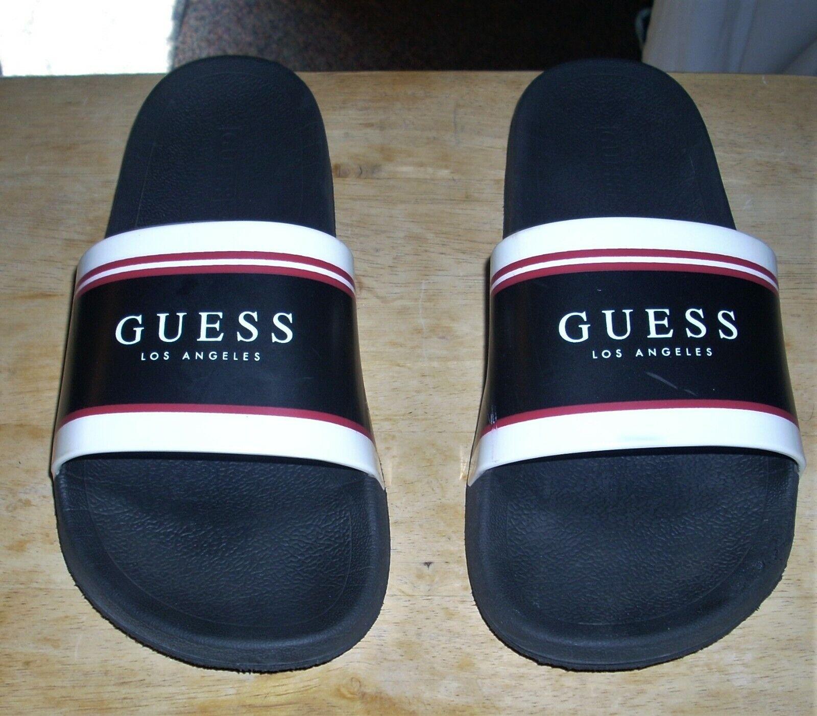 GUESS Los Angeles Black Slip On Slides Sandals GMExter Men's Size 13
