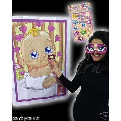 BABY SHOWER PARTY GAME PIN THE DUMMY PACIFIER  ON BABY FOR 12 GUESTS alandra