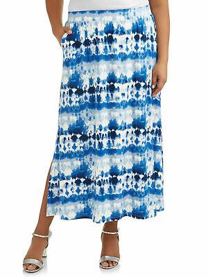 Terra /& Sky Women/'s Plus Long Maxi Skirt Size 1X Blue Geo Side Pockets 16-18W