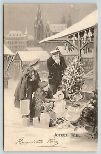 Christmas-Noel-Father-amp-Daughters-Street-Vendor-Dolls-Decorated-Tree-1902-B-amp-W