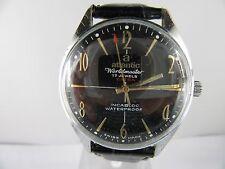 "C402⭐⭐ ""Vintage Atlantic Worldmaster EXTRA"" 17 Jewels Handaufzug Lederarmband ⭐⭐"