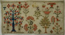 SMALL MID 19TH CENTURY TREE OF KNOWLEDGE FLOWERS & MOTIF SAMPLER c.1845