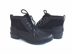 e7800df0f06 Details about UGG HEATHER WATERPROOF BLACK ANKLE LEATHER BOOT US 12 / EU 43  / UK 10