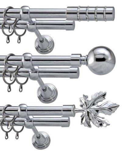Metal Double Curtain Pole Rod Set Diameter 19mm Silver Polished Chrome
