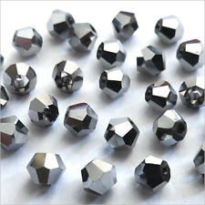 40 Perles Tchèques Toupies en Cristal 4mm Jet Hématite