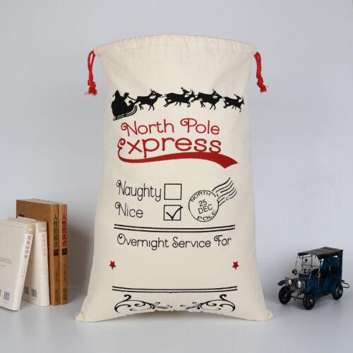 Christmas Bag Santa Claus Sack North Pole Express Cotton XMAS Childrens Gift Bag