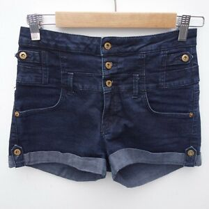 Gorgeous-TOPSHOP-Ladies-Dark-Blue-High-Rise-Stretch-Shorts-Hotpants-size-UK-10