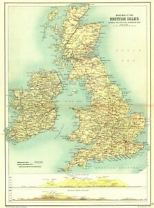 Road Map Of England And Scotland.British Isles Road Map Main Roads Sections Across Scotland