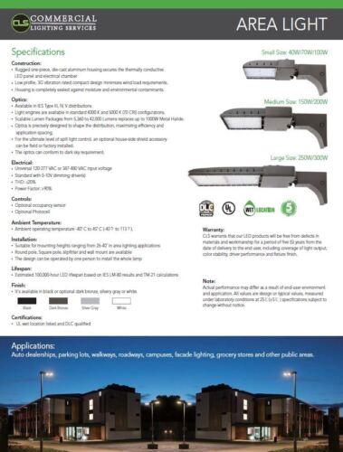 LED Bronze 300 Watt Shoebox Parking Lot Pole Lights Photo Cell Optional 5000K